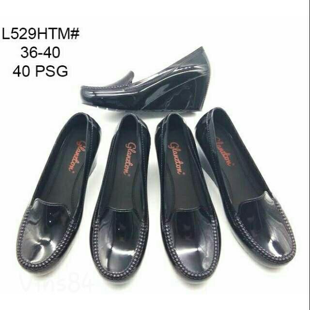 harga Jelly shoes wedges hitam mengkilap Tokopedia.com