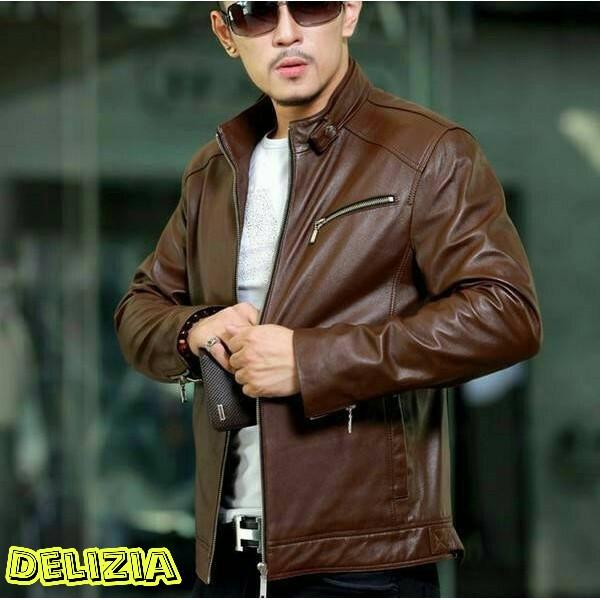 Jual jaket kulit pria coklat semi leather - Merah 38044764fb