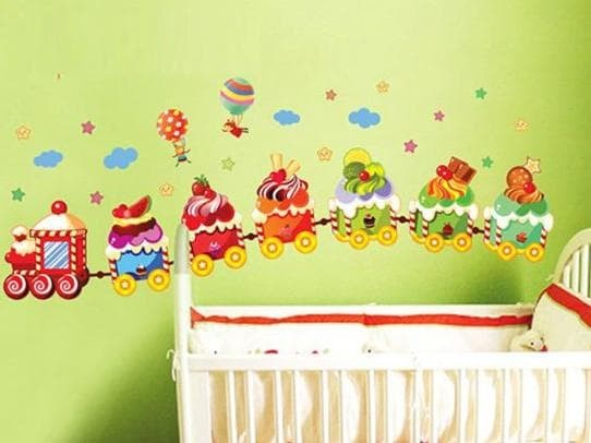 jual wallsticker wall sticker stiker kamar anak anak kereta cake