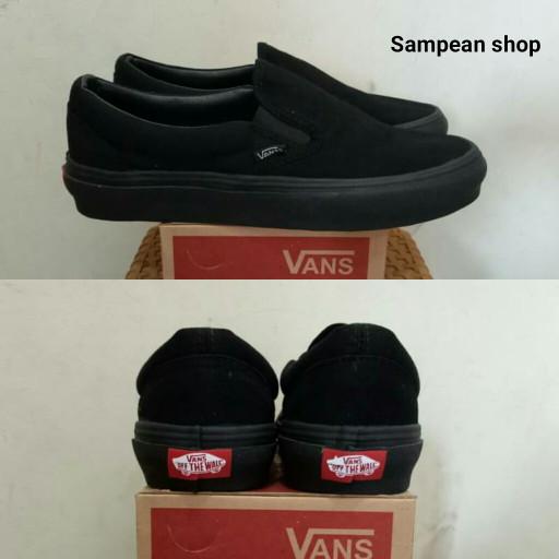2b870496db Jual Sepatu Vans Slip On Full black Original Premium Import BNIB ...