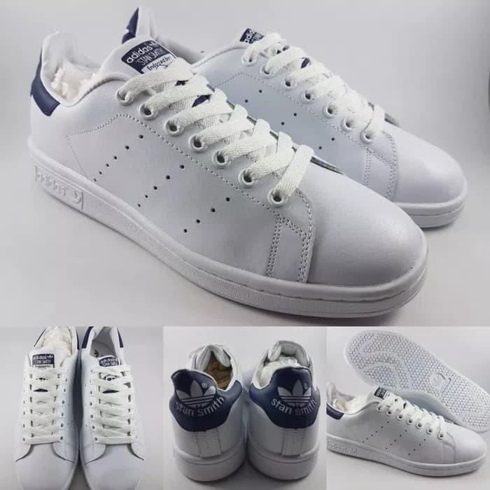 Jual Sepatu Kets Adidas Stan Smith Classics White Dark Blue Navy