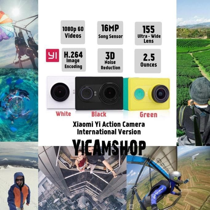 JUAL XIAOMI YI ACTION CAMERA - 16 MP - INTERNATIONAL VERSION - HITAM