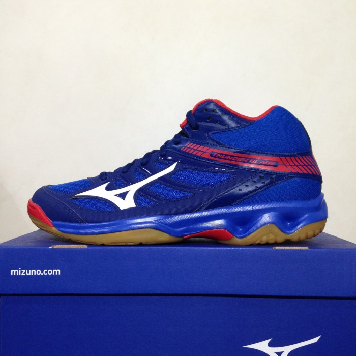 harga Sepatu volley mizuno thunder blade mid nautical blue red v1ga187527 Tokopedia.com