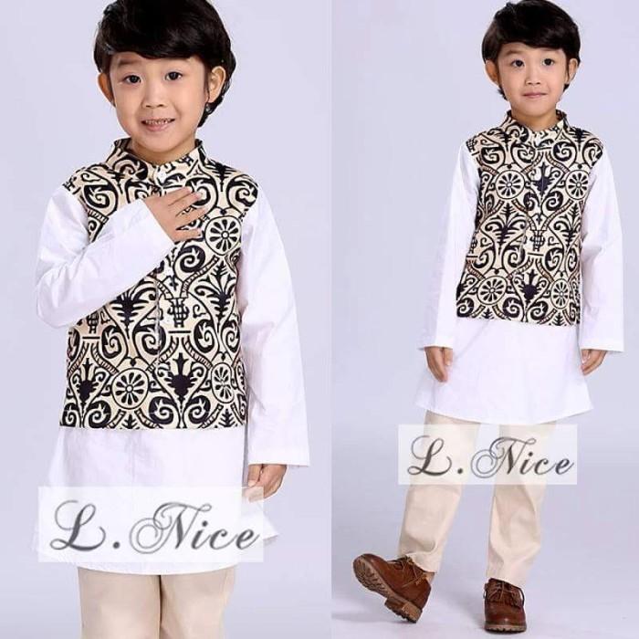 Jual Baju Koko Batik Warna Putih Branded Busana Muslim Anak Setelan