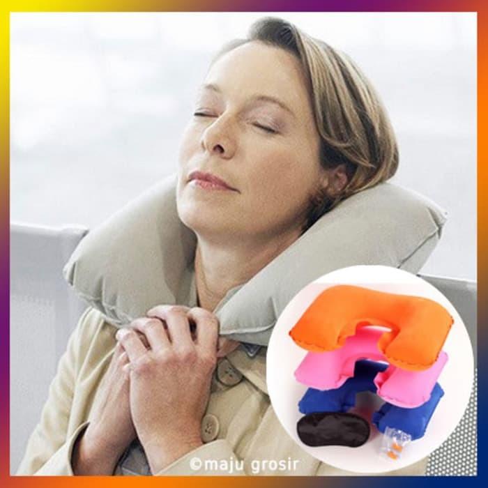Bantal Leher Penutup Mata dan Telinga (Travel Pillow)