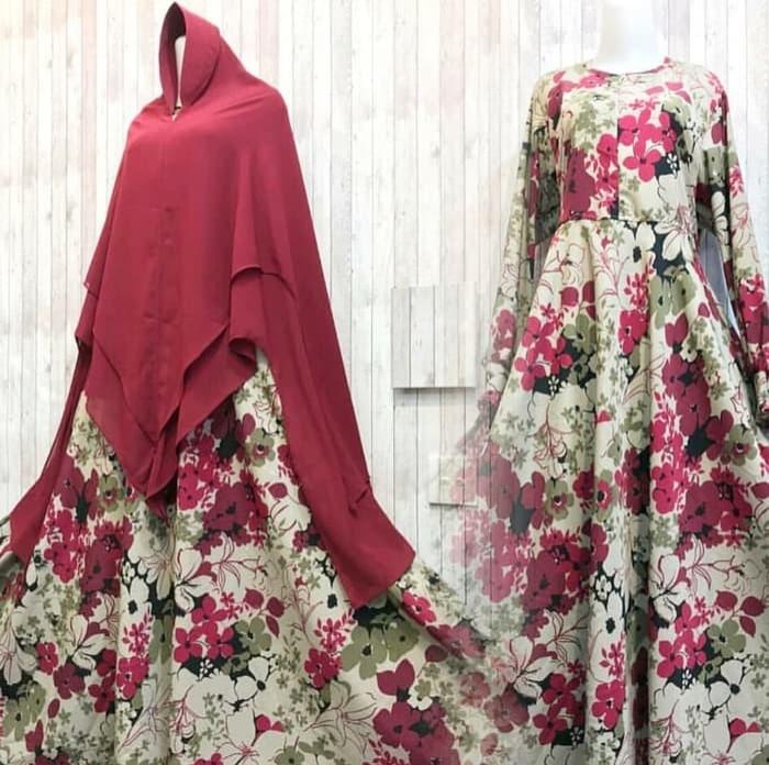 ... harga Gamis sabila berry merah wolfis monalisa motif klok cantik murah syari Tokopedia.com