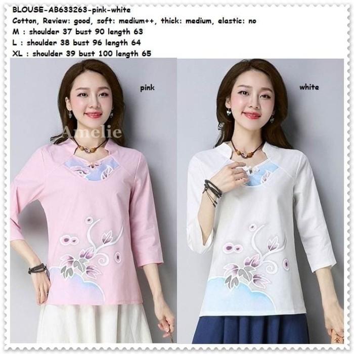 harga Baju atasan cheongsam blouse wanita korea import ab633263 pink putih Tokopedia.com