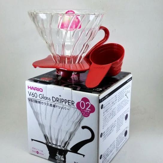 Red Hario VDG-02R V60 02 Glass Coffee Dripper