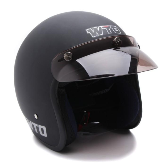 [COUPLE HELM DEWASA] WTO Helmet Retro Bogo Pet - CLS1 - Hitam Doff 1