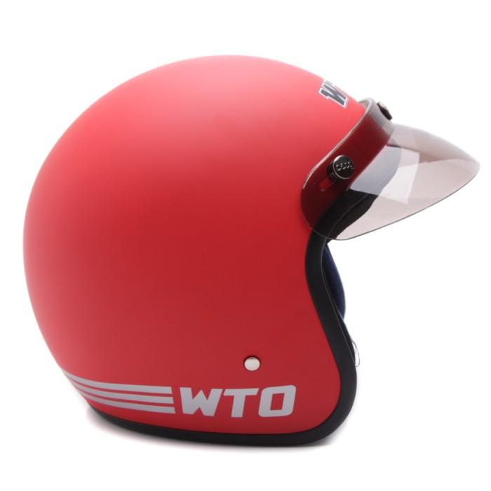 [COUPLE HELM DEWASA] WTO Helmet Retro Bogo Pet - CLS1 - Hitam Doff 4