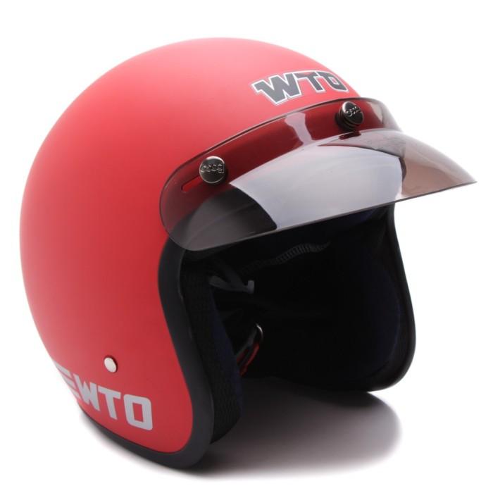 [COUPLE HELM DEWASA] WTO Helmet Retro Bogo Pet - CLS1 - Hitam Doff 2