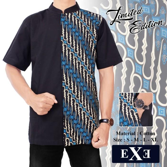 Promo Kemeja Baju Koko Muslim Pria eXe Hitam Kombinasi Batik 1 2