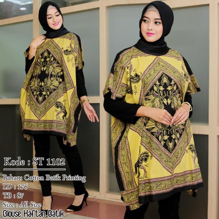 Jual Model Baju Batik Terbaru Blouse Kaftan Batik Orange Jakarta Barat Gudang Grosir Online Tokopedia