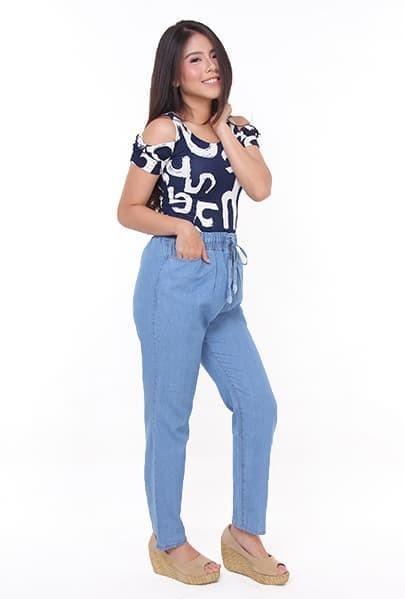 Celana Kulot Jeans Panjang Wanita - Biru Muda - All size
