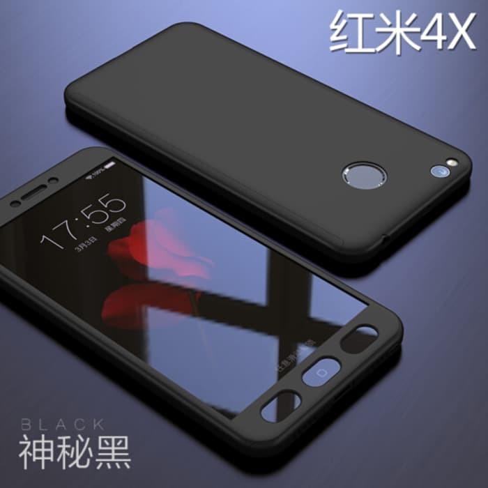 Xiaomi Redmi 4x Hardcase Case 360 Full body Free Tempered Glass - Hitam