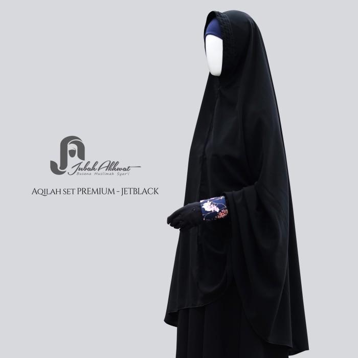 Jual Stelan Gamis Syari Bahan Jetblack Jilbab Non Pet Lipit Aqilah