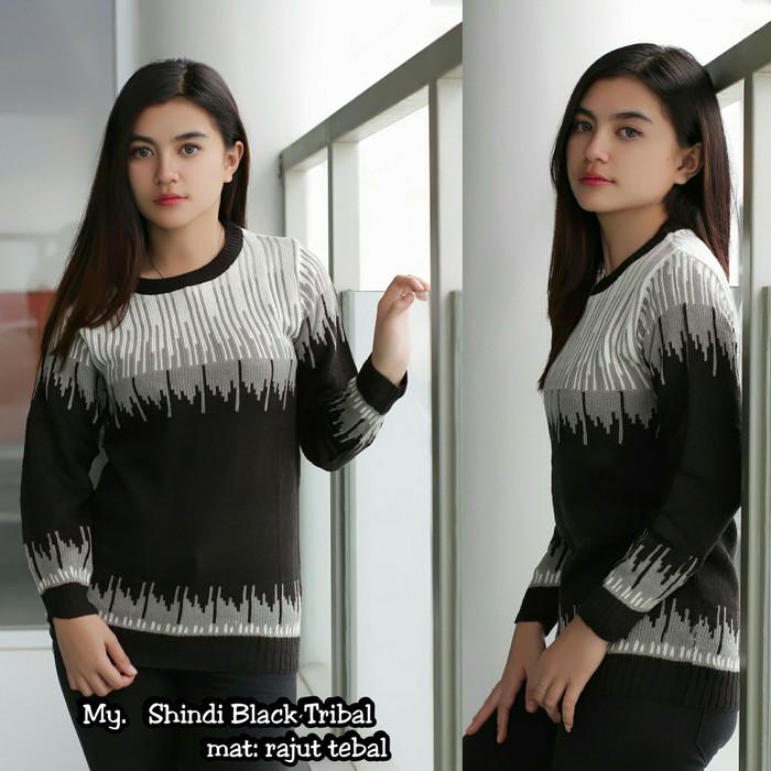 harga Sweater wanita shindi black tribal rajut termurah baju sweater terlar Tokopedia.com