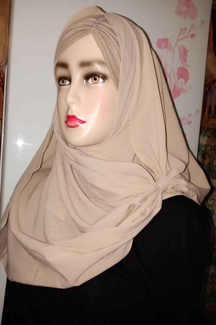 hijab pasminah & segi 4 - Abu -abu Tua