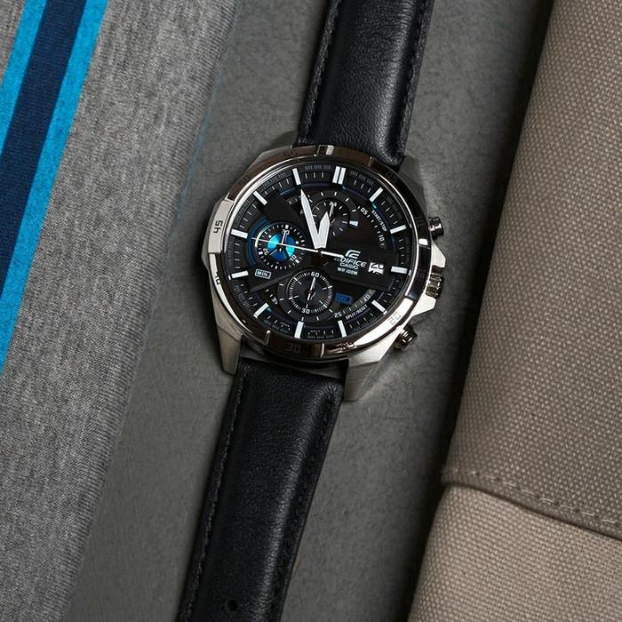 Jam Tangan Pria Casio Edifice EFR-556L Leather Black Original BM