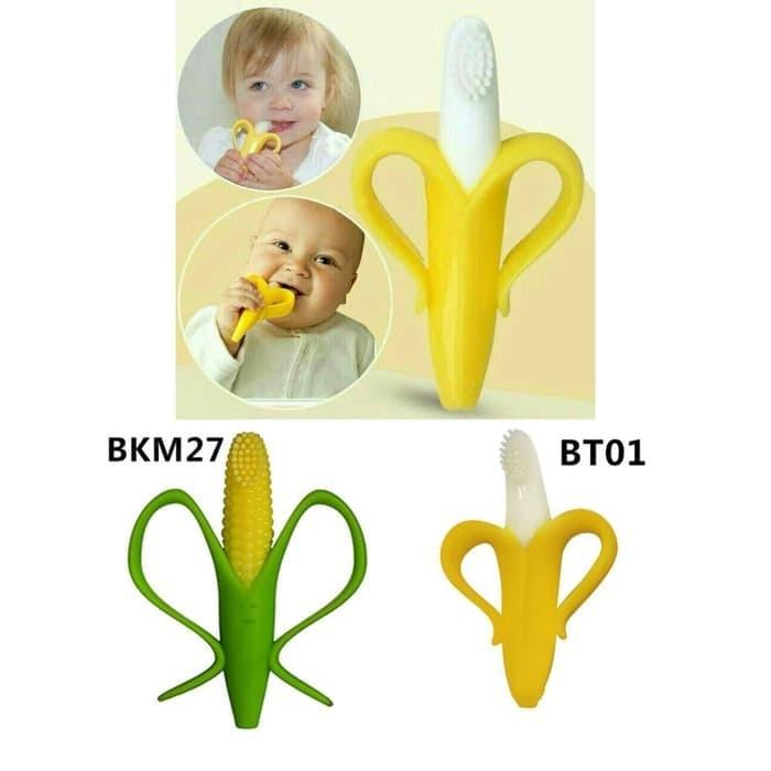 Baby Teether IQ BABY 2 in 1 Silicone Gigitan Bayi Motif Jagung Pisang