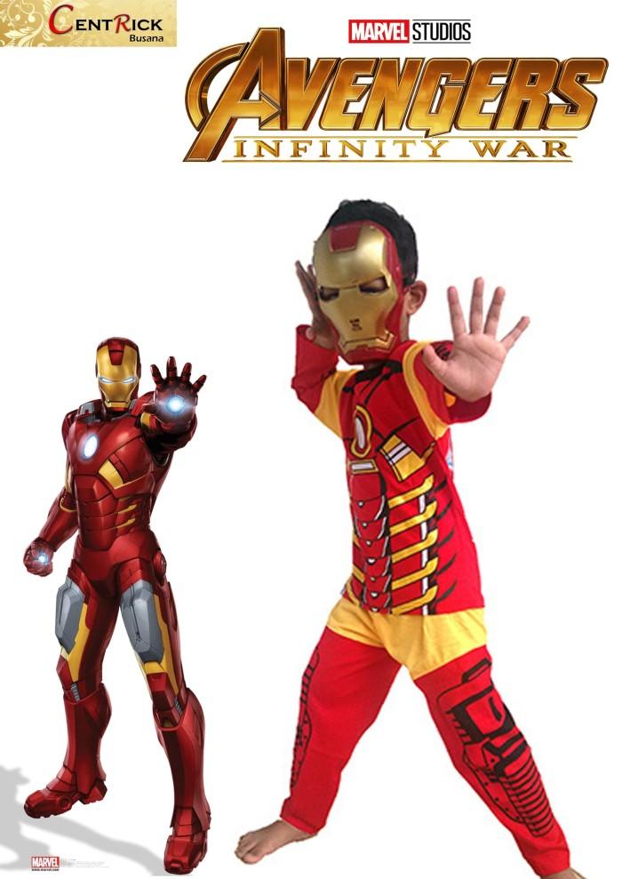 Kostum baju anak dengan topeng superhero ironman avenger