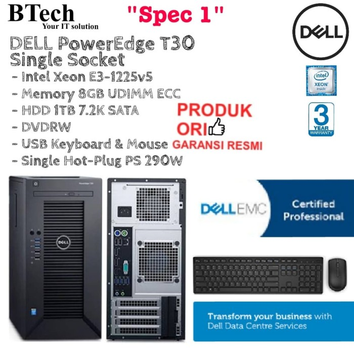 Jual SERVER DELL PowerEdge T30 Single Socket