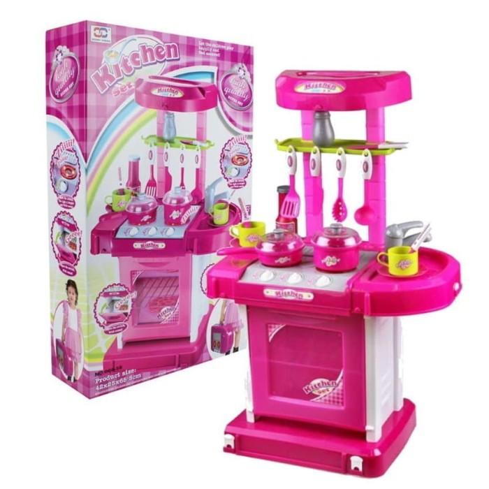 KITCHEN SET KOPER PINK / mainan anak masak masakan dapur besar seru