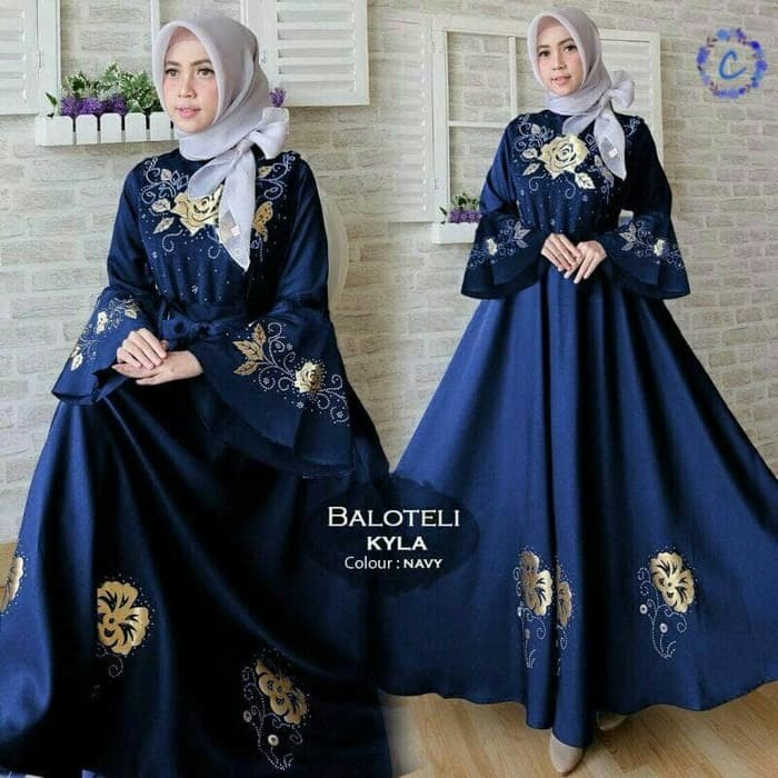 Jual Terbaru 2018 Maxi Balotelly Kyla Navi Fashion Wanita Baju Muslim Gamis Jakarta Barat The Fash Tokopedia