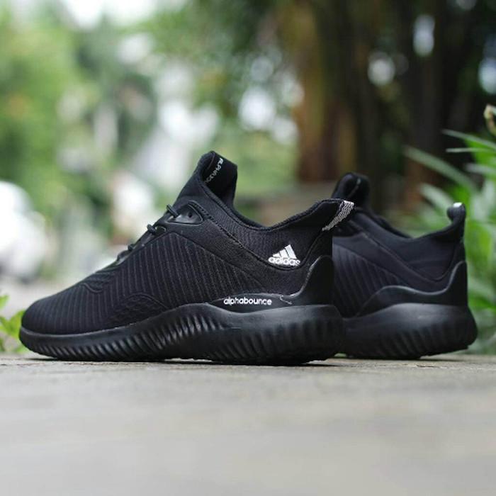 af8edb93e Jual Sepatu Adidas Alphabounce Triple Black   Hitam Pria Wanita ...
