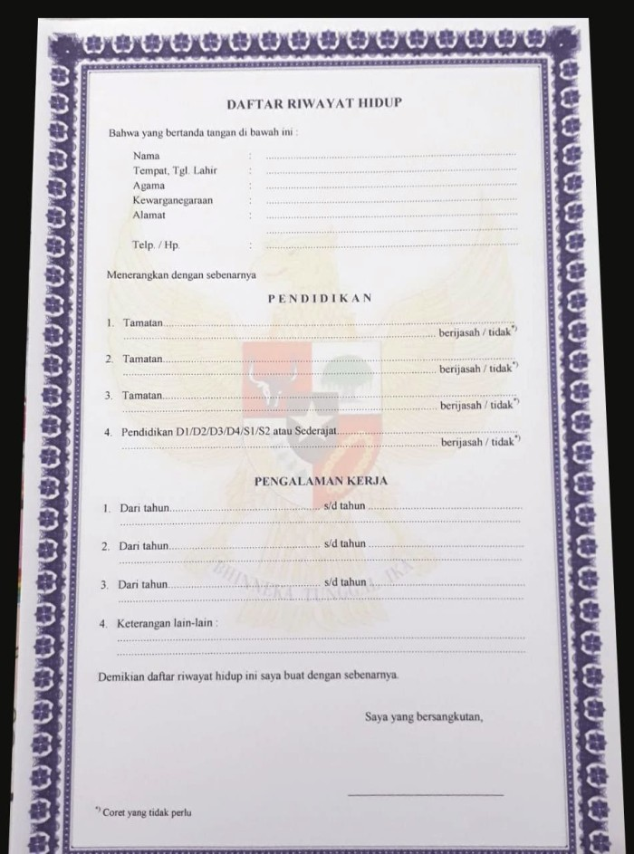 Jual Blangko Daftar Riwayat Hidup Kab Indramayu Salma Grafikom Tokopedia