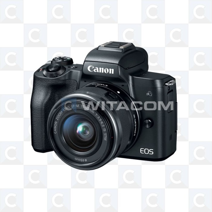 harga Canon eos m50 kit ef-m 15-45mm f/3.5-6.3 is stm - black Tokopedia.com