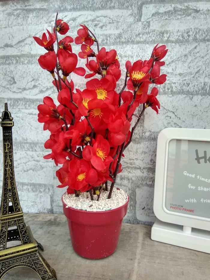 Buket bunga sakura artifisial artificial palsu dekorasi rumah shabby - Merah a06972c175