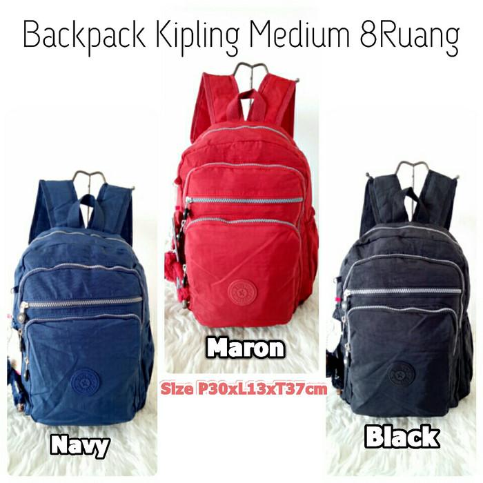 harga Kp8077 Tas Ransel Kipling/backpack Kipling Polos Medium Unisex - Hitam Blanja.com