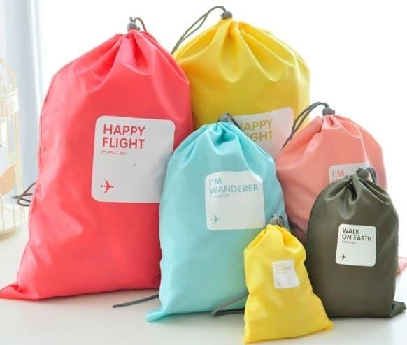 Tas Serut Travel Bag Drawstring Bag 4in1 - 1 Paket isi 4 Pcs