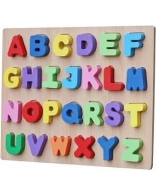 Foto Produk Mainan Edukasi Anak - Puzzle Chunky Kayu Natural Alphabet Huruf Besar dari Toko DnD