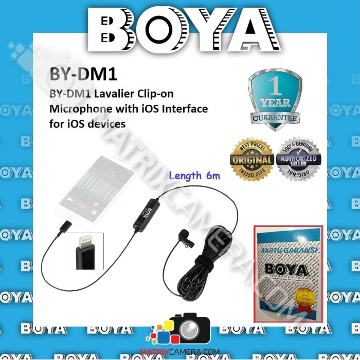 Foto Produk BOYA BY-DM1 Clip-on Microphone for iOS Devices Lightning Connector dari MatrixCamera