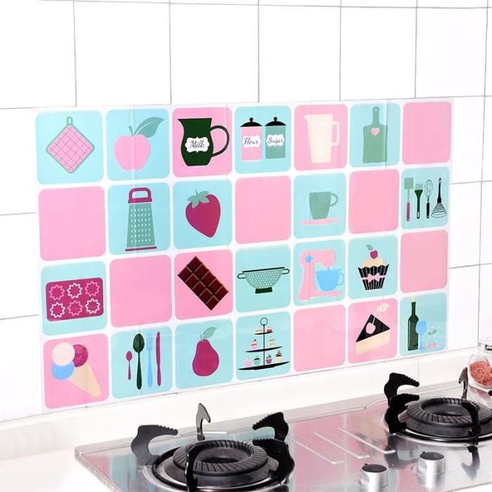 jual tjm stiker dinding dapur / wall sticker anti minyak dapur motif