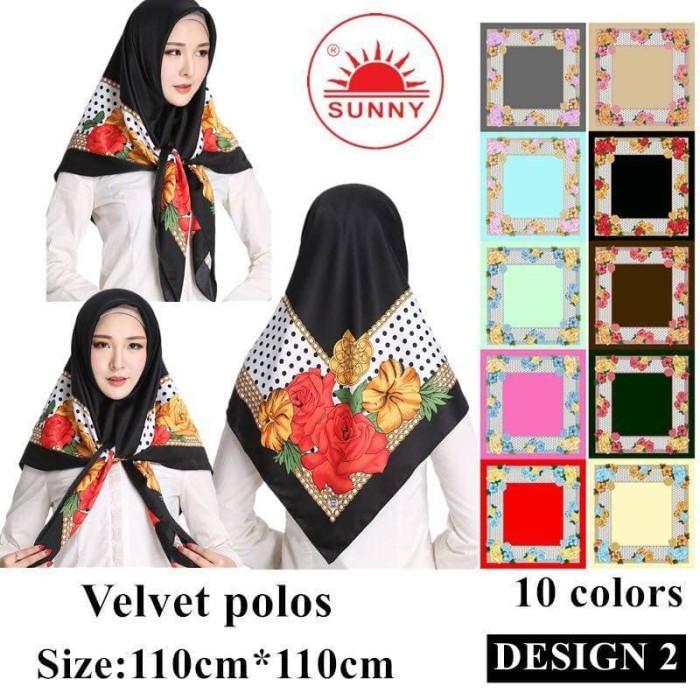 Jilbab segi empat satin velvet motif bunga - sunny seri 02
