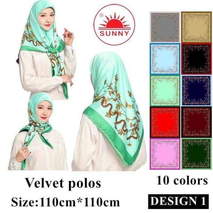 Jilbab segi empat satin velvet motif bunga - sunny seri 01