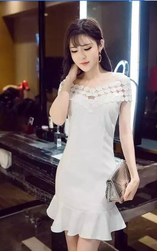 Jual Midi Dress Pesta Baju Gaun Pesta Putih Korean Fashion A30518 Sf