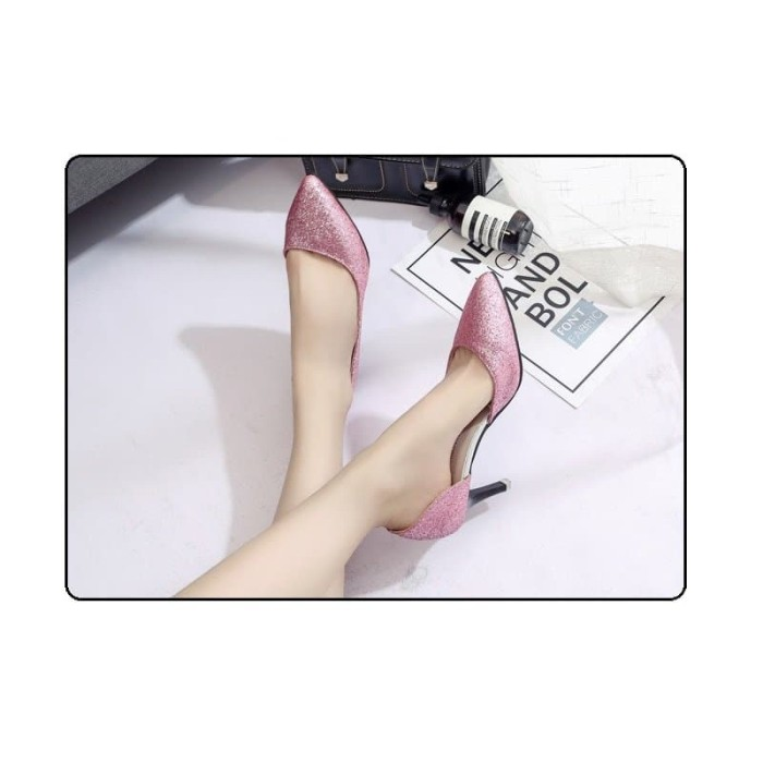 sepatu high heel pesta import glitter blink gold silver pink hitam 586 35a3009f30