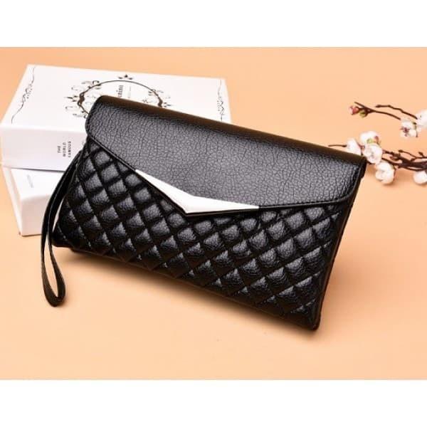 tas tangan pesta envelope selempang mini 2 ruang kulit hitam emboss 60 caf38330cd