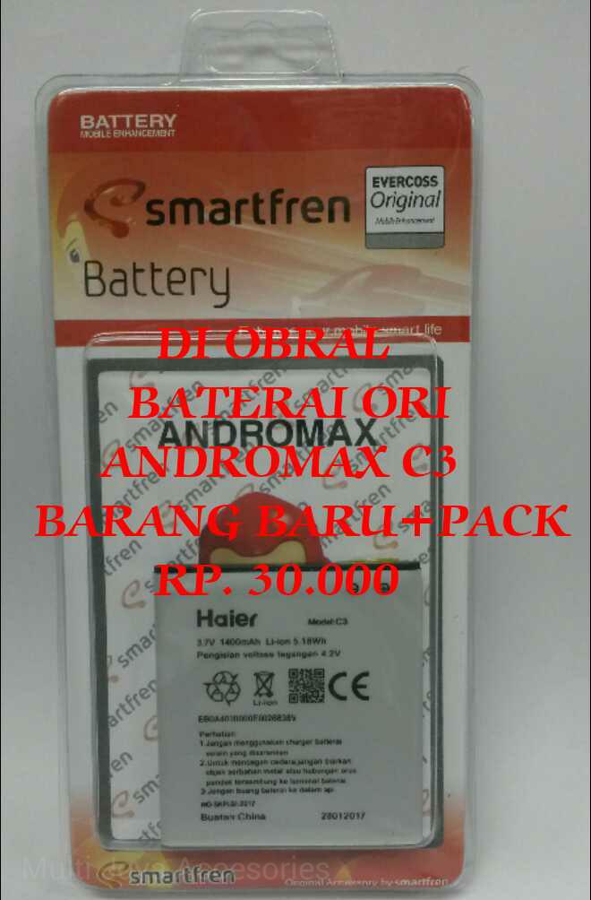 harga Baterai handphone smartfren andromax c3 / ori / battrey / batrai Tokopedia.com