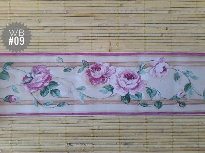Wallborder motif bunga pink uk 10,5 cm x 10m