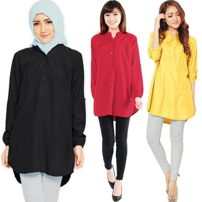 Kemeja Tunik Wanita Lengan Panjang Size M/L/XL 6 warna -