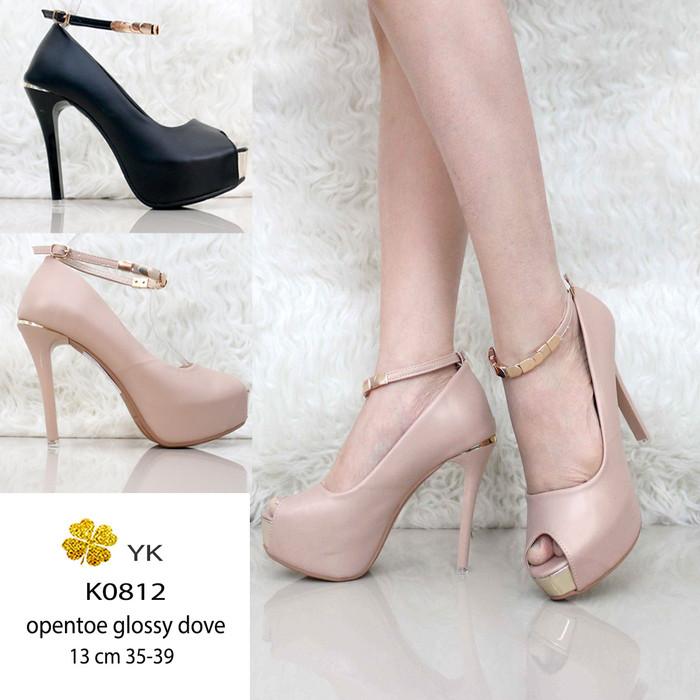 Ykshoes 0812 high heels 13cm pump sepatu import 13 cm heels nude hitam