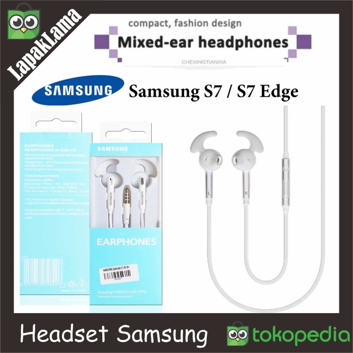 Turun Harga Headset Handsfree Samsung Galaxy S7 S7 Edge Earphone HF G