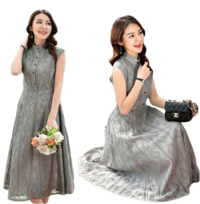 Jual Long Dress Wanita Import Maxi Dress Baju Pesta Brokat Elegan