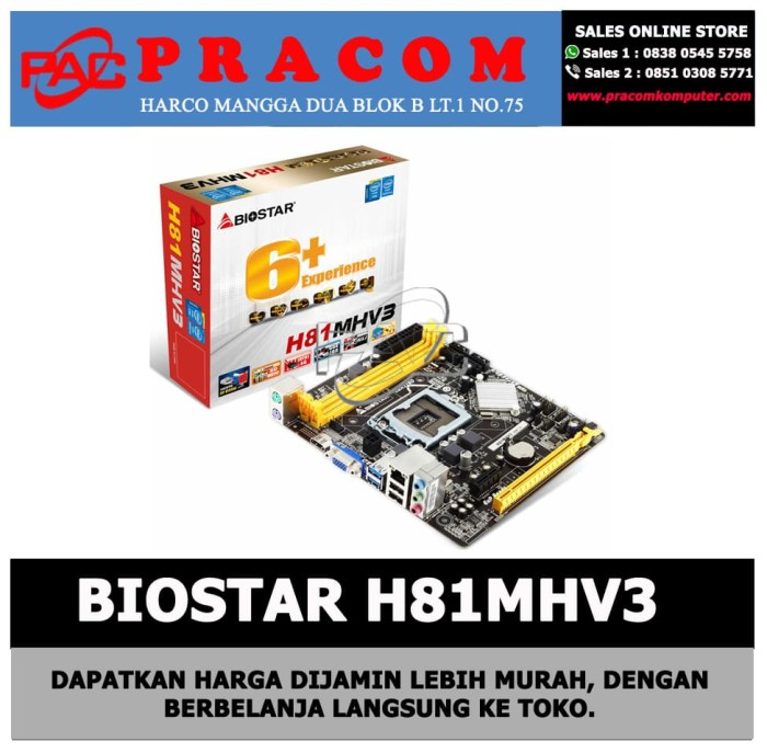 Jual MOTHERBOARD BIOSTAR H81MHV3 - DKI Jakarta - Pracom Computer | Tokopedia