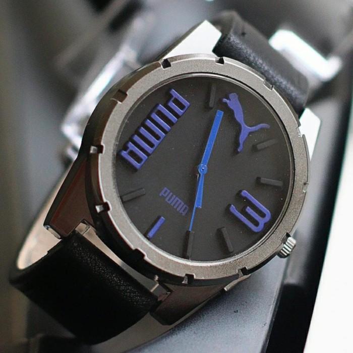 DMP jam tangan pria puma kulit murah jtr 1181 hitam biru rph